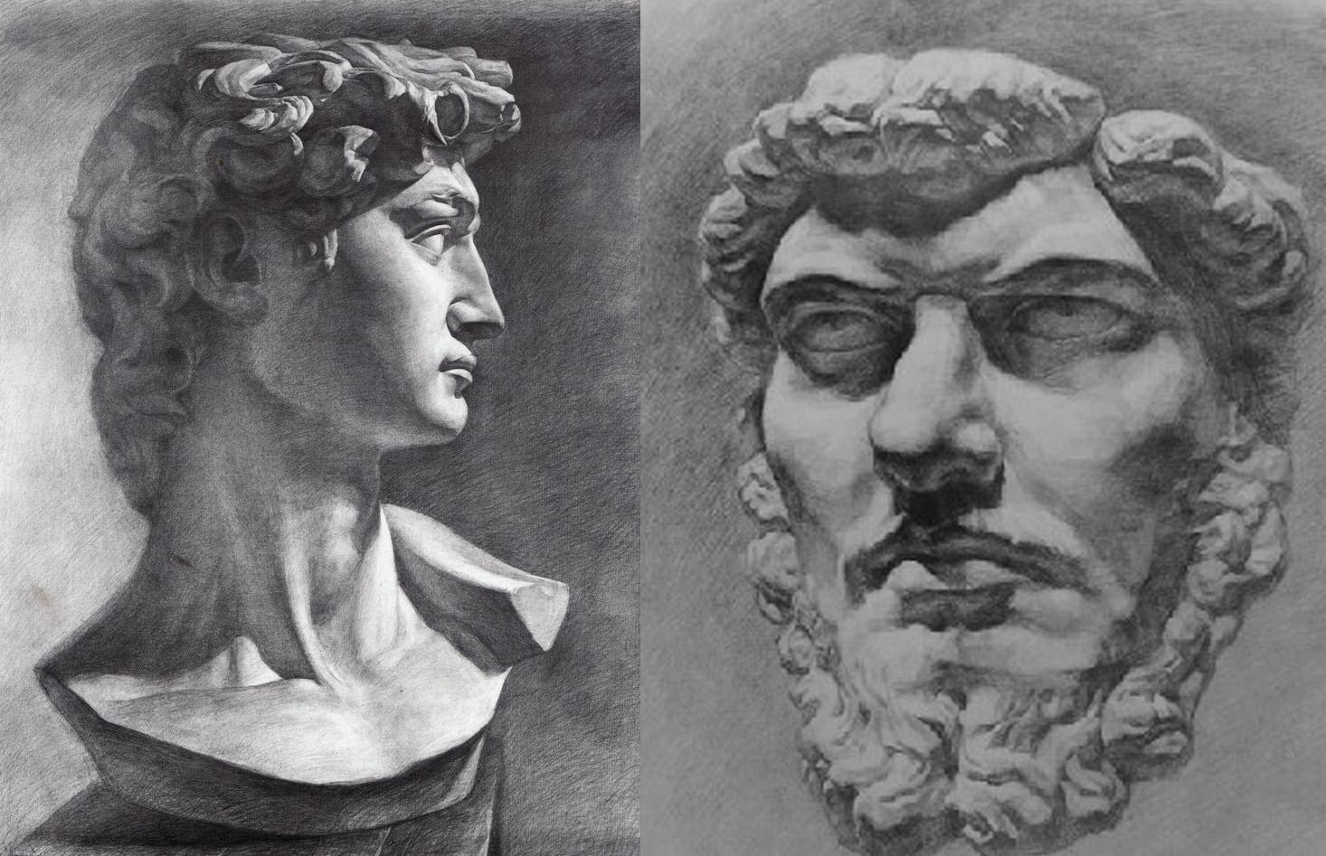 静物素描与石膏像素描是绘画的基础中的基础,是以最概括的方式